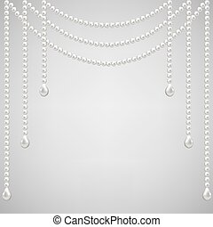 pearl necklace - Gray background with pearl necklace Vector...
