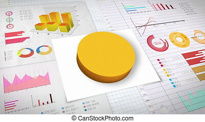 50 percent Pie chart - Pie chart with various economic...