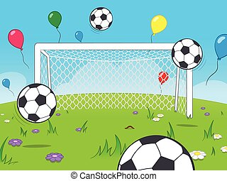 Cartoon goalposts with balloons and soccer balls - White...
