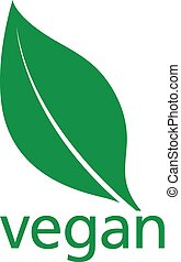 Vegan Logo with a single fresh green leaf above lowercase...