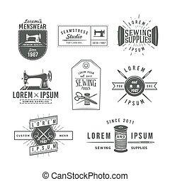 Set of vintage tailor labels, emblems and design elements....