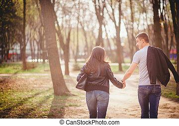 coppia, parco, amare