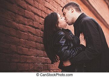 parete, coppia, amare
