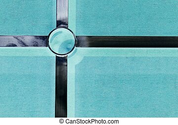 abstract metal cross on the green background - abstract...