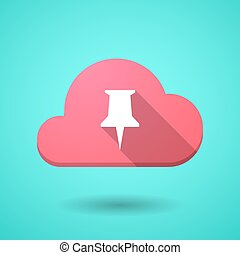 Cloud icon with a push pin
