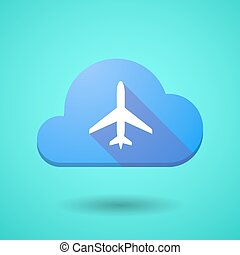 Cloud icon with a plane