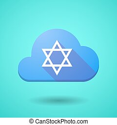 Cloud icon with a David star - Illustration of a cloud icon...