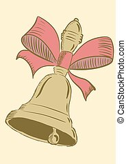 School hand bell in style a vintage