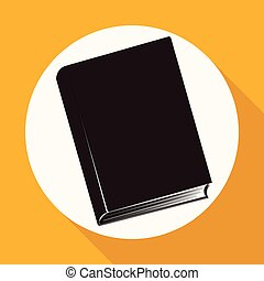 Book icon on white circle with a long shadow