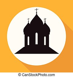Orthodox Cathedral Church on white circle with a long shadow