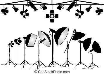 Photography equipment vector - Photo studio lighting...