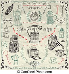 Vector Vintage Icons and Objects on Crumpled Paper - Vintage...