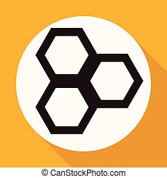 honeycomb on white circle with a long shadow
