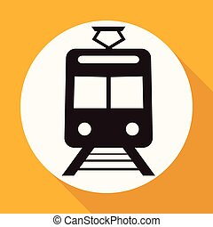Train Icon on white circle with a long shadow