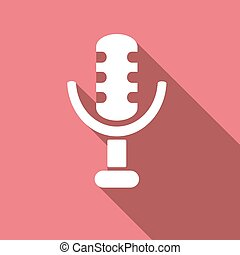microphone icon with a long shadow