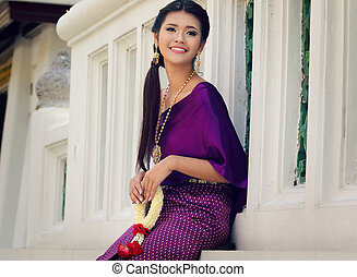 Thailand National Costume, Asian woman wearing thai...