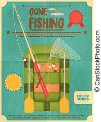 Fishing Retro Poster: Inflatable Boat and Equipment for...