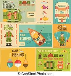 Fishing Mini Posters Set: Fisherman and Equipment for...