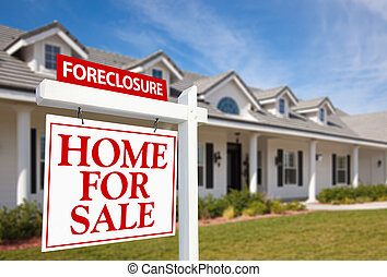 Foreclosure Home For Sale Real Estate Sign and House -...