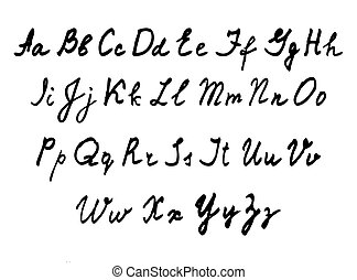 handwritten English alphabet Vector illustration -...