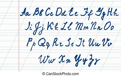 handwritten English alphabet. Vector illustration . -...