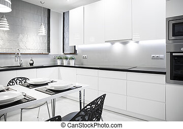 White kitchen in contemporary house