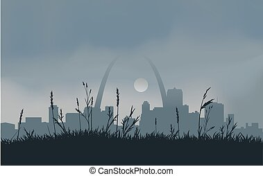 Grey St. Louis Sunset - Dowtown St. Louis with a gray...