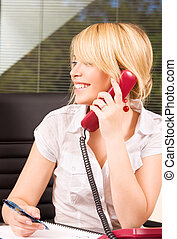 office girl - picture of lovely girl with phone in office
