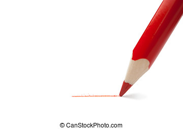 Red pencil - Red pencil writes on paper