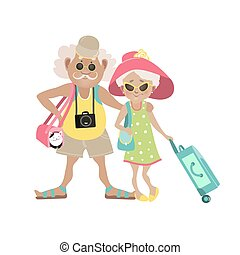 Illustration of an Elderly Couple Traveling Together with...