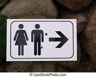 Sign of public toilets WC
