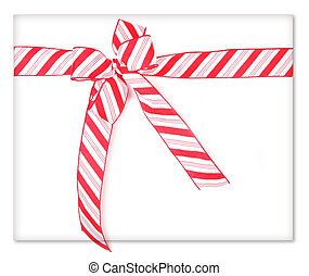 Candy Cane Present - Candy Cane Ribbon Wrapped Present