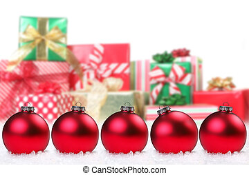 Pretty Christmas Bulbs and Gifts - adornment, ball, bauble,...