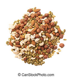 Pile of multiple nuts and seeds isolated over the white...