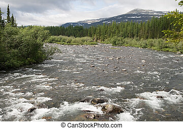 Mountain river - Rapid stream among rocks, Ural, northern...