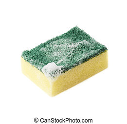 Foamy kitchen sponge isolated - Foamy kitchen dish washing...