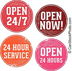 Open 24 Hours Sign - Vintage style stamp designs for 24 hour...