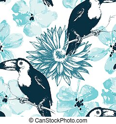 Birds and blue watercolor flowers seamless pattern