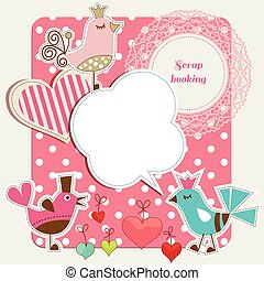 Scrap booking set, funny birds, frames hearts, speech...