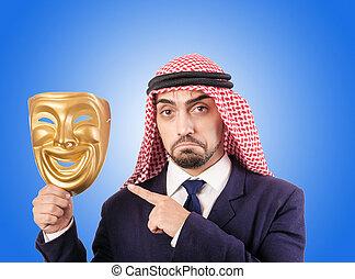 Arab businessman against the gradient