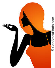 female silhouette - illustration drawing of beautiful orange...