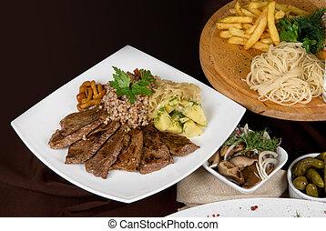 prato, tabela, carne