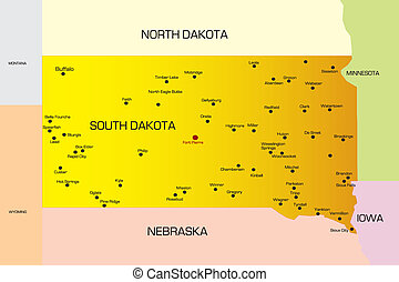 South Dakota - color map of South Dakota state. Usa