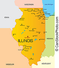 Illinois  - color map of Illinois state. Usa