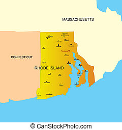 Rhode Island state - color map of Rhode Island state Usa