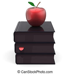 Books textbook stack total black and red apple school icon