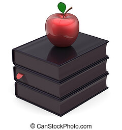 Books total black and red apple bookmark textbook stack