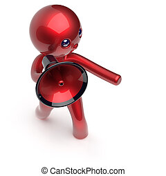 Man making announcement megaphone character red