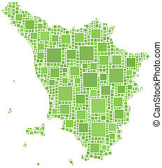 Map of Tuscany - The figure is composed by a mesh of squares...
