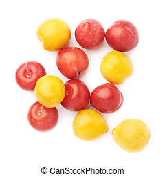 Pile of yellow and red plums - Pile of multiple yellow and...